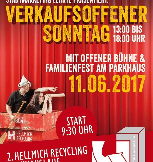 Hellmich Recycling Parkhauslauf, Familienfest am Parkhaus und verkaufsoffener Sonntag am 11. Juni 2017 in Lehrte