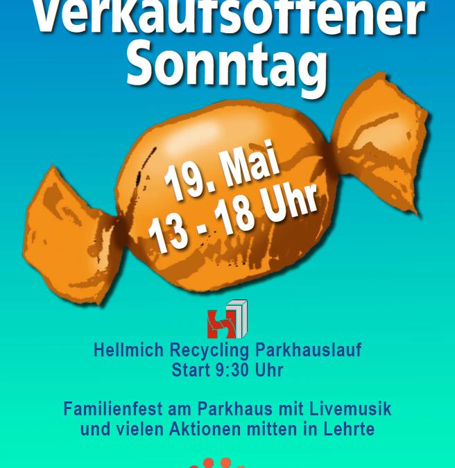 4. Hellmich Recycling Parkhauslauf, Familienfest am Parkhaus und verkaufsoffener Sonntag am 19. Mai 2019 in Lehrte
